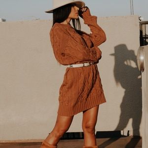 Western Chunky Knit Oversize Fall Bohemian Dress
